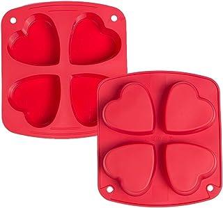 Webake Lot de 2 Moules à Muffins pour 4 Muffins en Silicone Anti-Adhésif Moulle à Patisserie en Forme de Coeur pour Cupcak...
