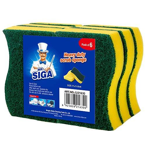 MR.SIGA Heavy Duty Scrub Sponge, Pack of 6, Size:11 x 7 x 3 cm, 4.3' x 2.8' x 1.2'