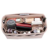 Lmeison Felt Bag Organizer, Purse Inserts for Speedy 30, Medium Multipocket Tote Bag Organizer for Neverfull mm, Longchamps Tote Bag, Beige