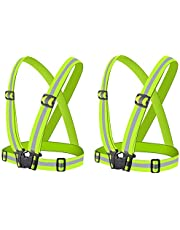 Ikruidy Chaleco de Seguridad 2 Piezas Chaleco Reflectante Verde Fluorescente Alta Visibilidad Chaqueta Ajustable Chaleco de Correr para Andar en Bicicleta Caminar Correr