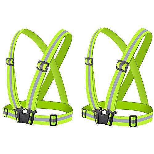 N/Z Chaleco de Seguridad 2 Piezas Chaleco Reflectante Verde Fluorescente Alta Visibilidad Chaqueta Ajustable Chaleco de Correr para Andar en Bicicleta Caminar Correr
