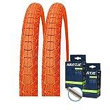 Kenda K907 Krackpot - Juego de 2 neumáticos para bicicleta BMX (20 x 1,95 + 2 mangueras para válvula), color naranja