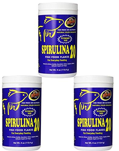 Zoo Med Spirulina 20 Flake Fish Food, 4-Ounce (3 Pack)