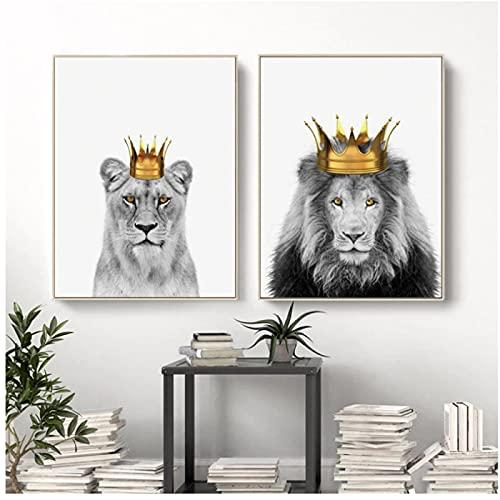 Cuadro de Animal escandinavo, arte de pared, lienzo, pintura artística, carteles e impresiones de corona de León masculino femenino para la decoración del hogar de la sala de estar