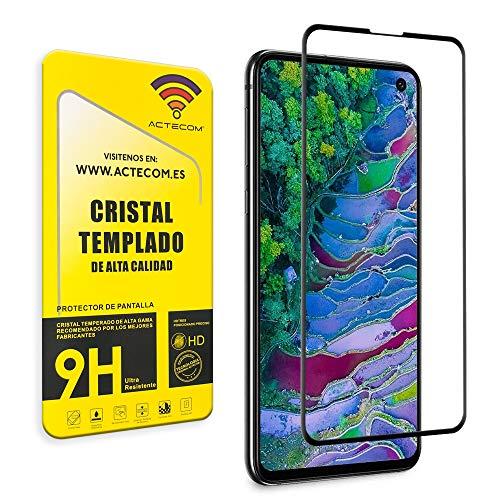 ACTECOM Protector de Pantalla Compatible con Samsung s10e Completo Curvo Negro Cristal Templado