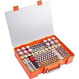 Caja de almacenamiento de batería, organizador con comprobador de batería, Caja de almacenamiento de pilas para pilas AA AAA 9 V C D 23 A CR123 litio 3 V LR44 CR2016 CR1632 CR2025