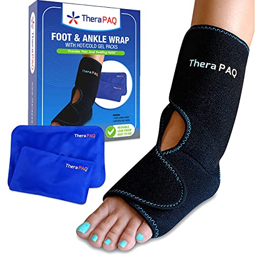 Foot & Ankle Ice Pack Wrap with 2 Hot/Cold Gel Packs by TheraPAQ | Foot Pain Relief for Achilles Tendon Injuries, Plantar Fasciitis, Bursitis & Sore Feet | Microwaveable, Freezable and Reusable