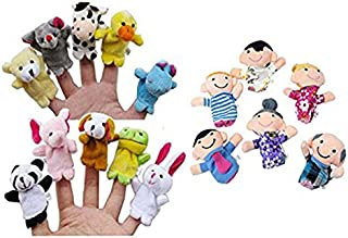 Clearance Sale!DEESEE(TM)🌸🌸16PC Story Finger Puppets 10 Animals 6 People Family Members Educational Toy