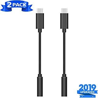 USB-C to 3.5 mm Headphone Jack Adapter to 3.5mm Aux Audio Dongle Jack Cable USB C to AUX Adapter Compatible with Pixel 3/2/3XL/2XL, iPad Pro 2018, One Plus 6T, Huawei and More Type-C Devices(2PACK)