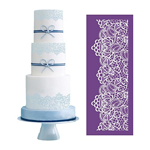 """ART Kitchenware 19.3""""×7.5"""" Large Alencon Lace Floral Mesh Stencil Rose Flower Cake Stencil Wedding Cake Side Stencils Template Mold Cake Decorating Bakery Tool MST-05 Purple Color"""