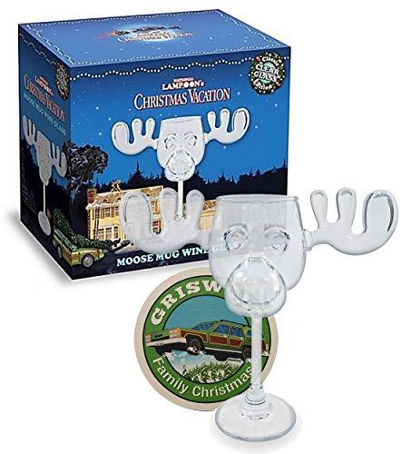 Cultica Griswold Weinglas im Elchdesign Moose Mug Glas inklusive Griswold Untersetzer