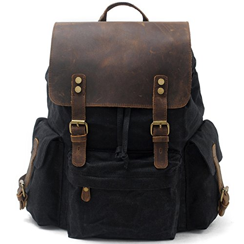 SUVOM Vintage Canvas Backpacks Genuine Leather 15.6' Laptop Rucksack Waterproof School Bag Travel Casual Daypack(Black)