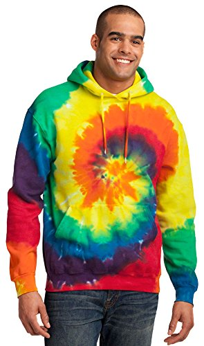 Port & Company Mens Essential Tie-Dye Pullover Hooded Sweatshirt, M, Rainbow