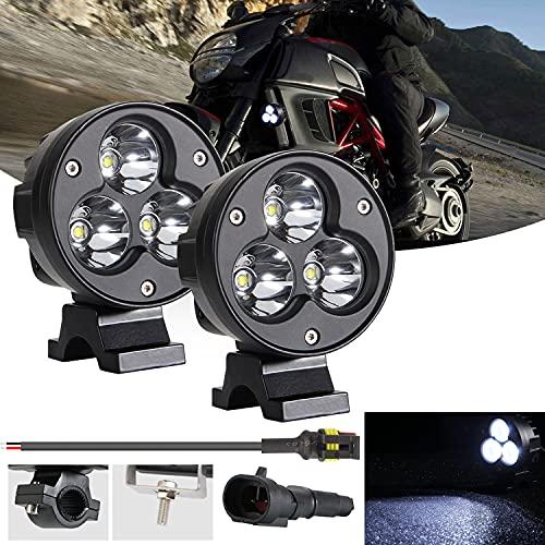 Kairiyard LED-Scheinwerfer Square Moto 4-Zoll-LED-Rampenscheinwerfer DRL 3 Modi 6 CREE-Chip Mit 3 Linsen 60W 6000lm 6000K+8000K Angel Eyes Zusätzliche LED-Motorradleuchten LED-Nebelscheinwerfer