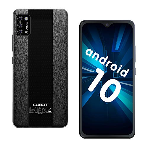 CUBOT Note 7 Smartphone ohne Vertrag, 4G Handy, 5.5″HD Display, Android 10, 3100mAh Akku, DREI Kameras, 2GB/16GB, 128GB erweitbar, Dual SIM, Deutsche Version, NFC, Face ID,Schwarz