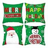 Rubyia Funda Cojín 40 40, Juego de 4 Cojin Decorativo Sofa, Poliester ( El Muñeco de Nieve de Santa, Verde Rojo )
