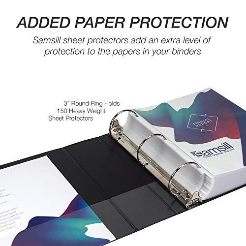 Samsill Economy 3 Ring Binder Organizer, 3 Inch Round Ring Binder, Customizable Clear View Cover, Black Bulk Binder 4 pack, (Model: MP48580) Photo #7