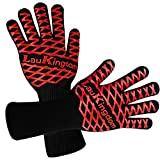 Oven Gloves, LauKingdom BBQ Gloves Heat Resistant,Kitchen Grill Mitts,Barbecue Gloves for Outdoor Grilling,Oven Mitts for Cooking, Long Cuff.