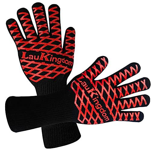 Oven Gloves, LauKingdom BBQ Gloves Heat...