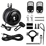 SOWUNO 125Db Loud Bicycle Electric Horn USB Charging Bike Alarm Bells with 2 Remote Control Waterproof Ring Anti-Theft Vibration Alarm for Mountain Bike | Road Bicycle | Scooters etc (Black)