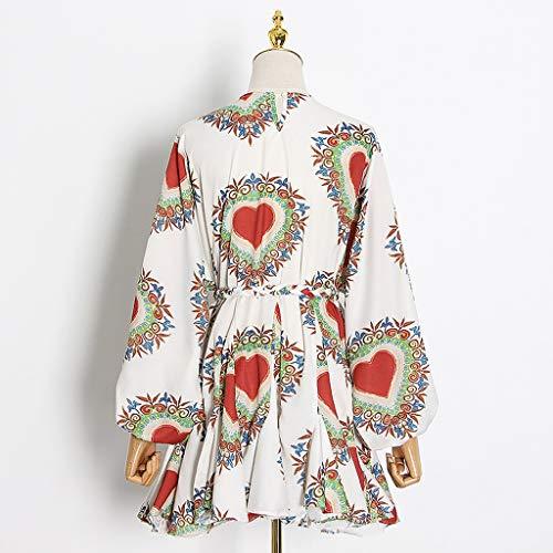 YWSZJ Vintage Print Treffer Farbe Kleid Für Frauen O Neck Laterne Langarm High Taille Schnüre Halt Bowknot Kleider Weibliche Sommer (Size : L Code)
