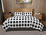 DOWN HOME Buffalo Check Quilt Set,All Season Coverlet Bedspread Bedding, Matching Shams, Full/Queen - Black/White