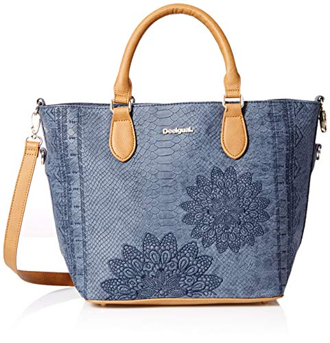 Desigual Damen Bols_aquiles Florida Henkeltasche, 16.5x25.8x26.2 cm, Blau, Einheitsgröße