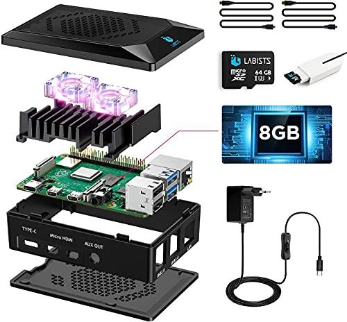 Raspberry Pi 4 Model B 8GB RAM Starter Kit, RPi Barebone con MicroSD Card 64GB, Tipo C Alimentatore 5.1V 3A, 2 Micro HDMI, Ventola, Raspberry Pi 4 Custodia Nera, Lettore di Scheda