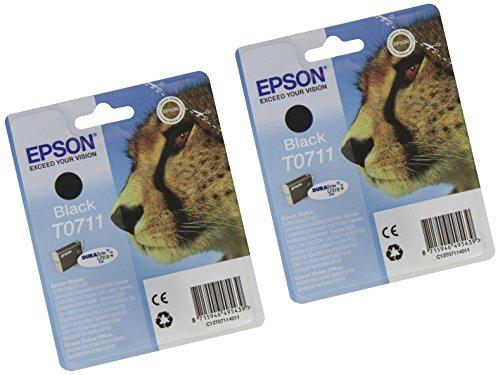 Epson T0711 - Cartucho de tinta para impresora Epson Stylus D78/DX4000 (2 unidades, negro), Ya disponible en Amazon Dash Replenishment