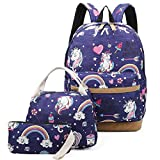 Girls School Backpack Unicorn Teens Bookbag Set Kids bag School Laptop Backpack with Lunch Box Purse (Deep Blue)