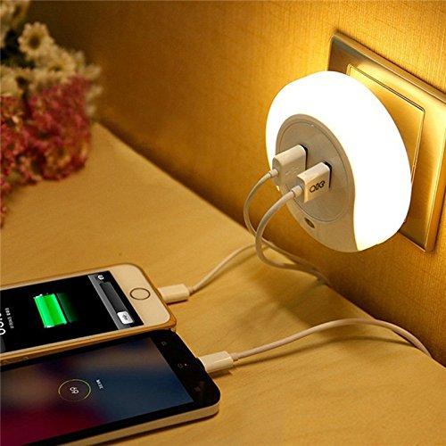 JERN LED Night Light Sensor 2 USB Charging Socket (White)
