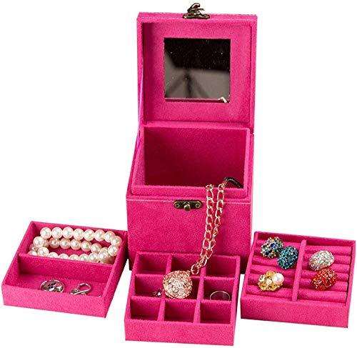 Mini caja de joyería Organizador Rose Rojo, Franela de tres capas Almacenamiento de joyas de la franela Oganizer Lock y transporte Vintage Mirador incorporado para pendiente Collar Anillo Pulsera Broc