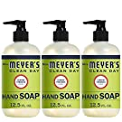 Mrs. Meyer's Clean Day Liquid Hand Soap, Cruelty Free and Biodegradable Hand Wash Formula Made with Essential Oils, Lemon Verbena Scent, 12.5 oz - Pack of 3