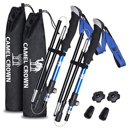 CAMEL CROWN Trekking Poles 2pc Pack Adjustable Hiking Folding Walking Sticks - Strong, Lightweight Aluminum