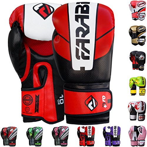Farabi Boxing Gloves Boxing Gloves for Training Punching Sparring Muay Thai Kickboxing Gloves (Red/Black, 12Oz)