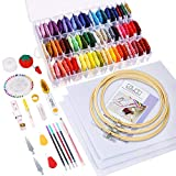 Caydo 164 Pieces Embroidery Kit with Instructions, 72 Color Threads with Organizer Box, 3 Pieces Aida Cloth,...