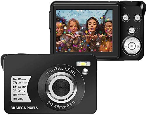 30 MP Digital Camera,Support 128GB SD Card(Not Included), 2.7 Inch 1080P Digital Camera for Kids Teenagers Beginners