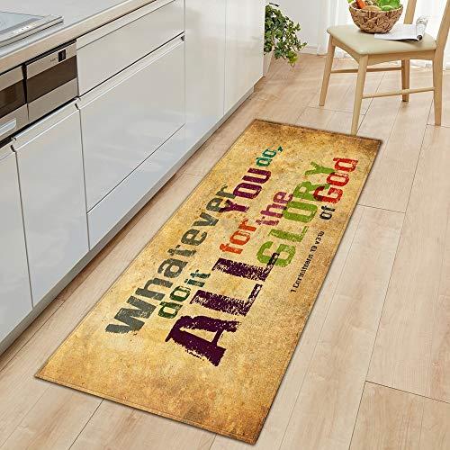 HLXX Alfombra de Cocina Moderna Alfombra de Entrada de Dormitorio Patrón 3D Decoración de Piso de casa Alfombra de Sala de Estar Alfombra Antideslizante de baño A15 60x180cm