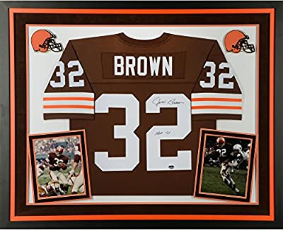 "Jim Brown Cleveland Browns Deluxe Framed Autographed Mitchell & Ness Replica Jersey with""HOF 71"" Inscription - Fanatics Authentic Certified"