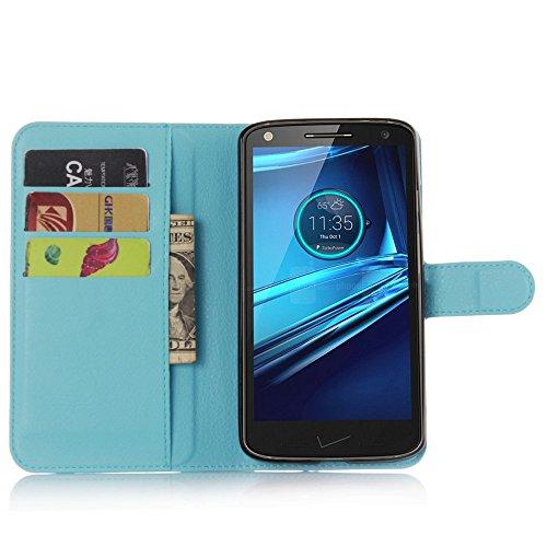 Tasche für Motorola MOTO Droid Turbo 2 Hülle, Ycloud PU Ledertasche Flip Cover Wallet Hülle Handyhülle mit Stand Function Credit Card Slots Bookstyle Purse Design blau