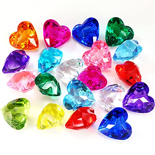 20 Pieces Big Size Kids Acrylic Diamond Gems Toy Children Summer Pool Beach Gems Toy Jewelry Playset Treasure Hunt Toy Fillers, Multicolored Acrylic Large Gems Party Favor Birthday Prizes