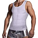 KOCLES Men's Compression Tank Top Slimming Body Shaper Vest Shirts Abs Abdomen Slim Undershirts Gym Weight Loss Workout Clothing (White, Medium)