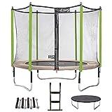 Kangui - Trampoline de Jardin 305 cm + Filet + échelle + bâche + kit d'ancrage JUMPI Taupe/Vert