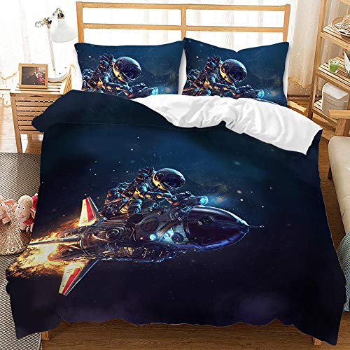 Cttfbys mtsubllk Planet space bedding set, 3D printed Mars astronaut duvet cover and pillowcase, suitable for themed bedroom and apartment-E_135*200cm(2pcs)