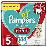 Couches Pampers Baby-Dry Pantalon taille 5, 144couches culottes, 12–17kg, Easy-On avec canaux d'air pour jusqu'à 12heures d'respirant Sécheresse, mensuel d'économie d'Lot
