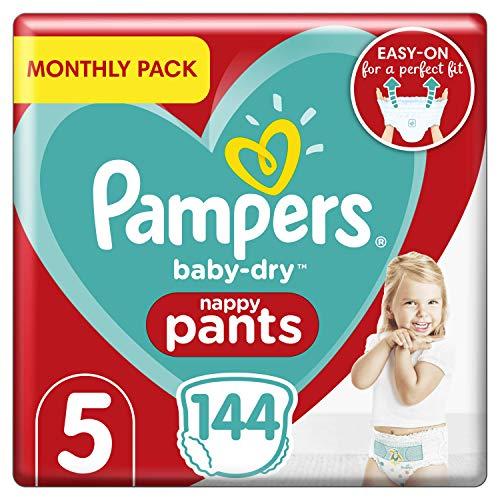 Pampers Baby-Dry Windelhose Größe 5, 144 Windelhöschen, 12-17kg, Easy-On mit Luftkanälen für bis zu 12 Stunden atmungsaktive Trockenheit, Monatspackung