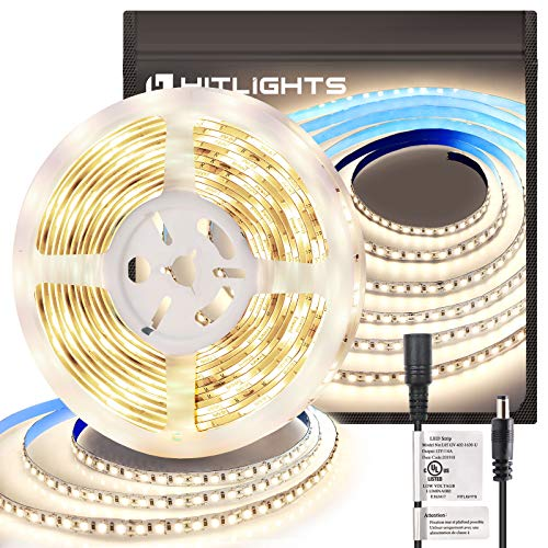 HitLights Neutral White LED Strip Lights, UL-Listed Premium High Density 2835-16.4 Feet, 600 LEDs, 4000K, 44W, CRI 90+, 900Lumen/m 12V DC LED Tape Lights for Under Cabinet, Kitchen, Lighting Project