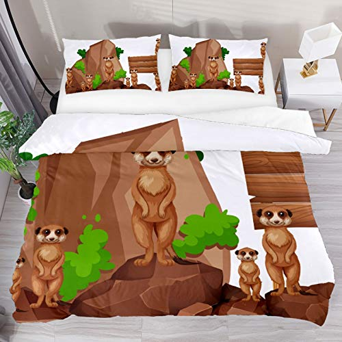 BOLIMAO 2 Pieces Wooden Sign With Meerkats On The Rock Duvet Cover Set Single Size 53'x79' Breathable Bedding Sets for Kids Children Girls Boys (No Comforter)