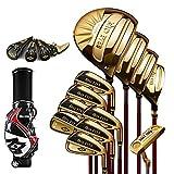 YPSMCYL Golfschläger - Herren 12 Golfschläger Eisen/Carbonruten - Herren Meistereisen Profispieler Komplettset,Gold-S-Carbon