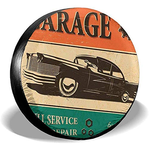 Drew Tours Garage Retro Oldtimer Reserverad Abdeckung Polyester wasserdicht Universal Fit für Anhänger Rv SUV und Fahrzeug